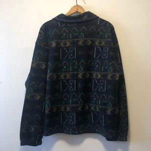 Vintage Sweaters - Vintage Green Tribal Print Fleece Sweater